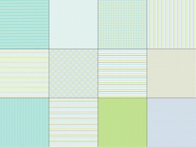 Raya verde azul y patrones de tela escocesa vector