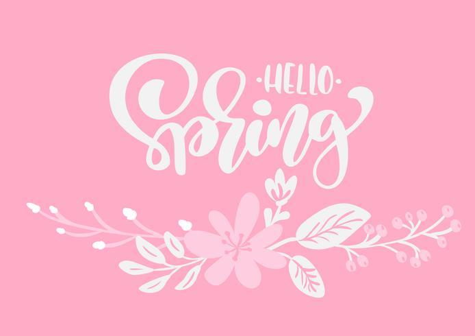 Ramo de flores vector tarjeta de felicitación con texto Hola primavera