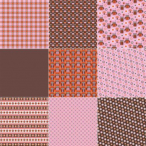 Motifs de hibou rose orange brun vecteur