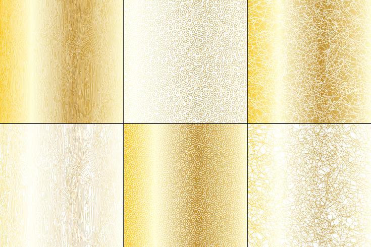 Metallico oro e bianco naturale trame vettore