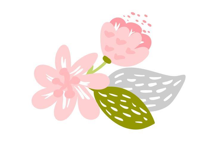 Vettore isolato fiore piatto su sfondo bianco