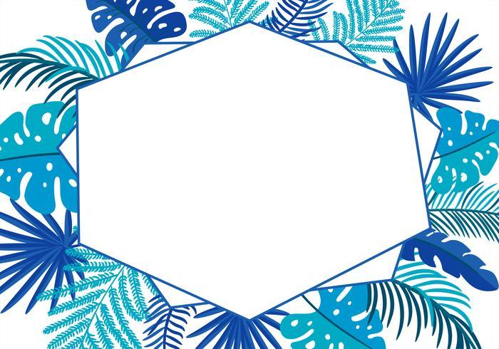 Sommer-Vektor-Blumenzusammenfassung verlässt tropische Palme mit Platz für Text