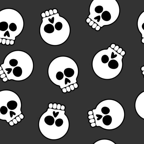 Ilustração em vetor crânio Cartoon sem costura padrão fundo