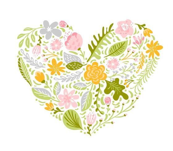 Ilustración vectorial de coloridas flores en forma de corazón vector