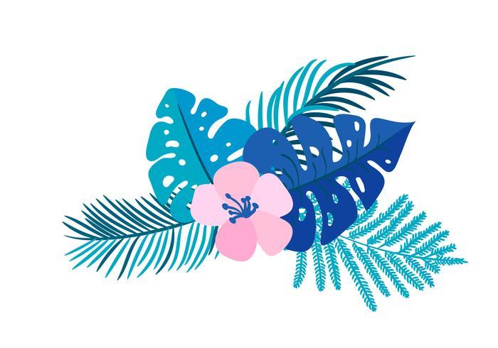 Vector de zomer geïsoleerde vlakke monster van de het boeket tropische palm van de bloembrood op geïsoleerde