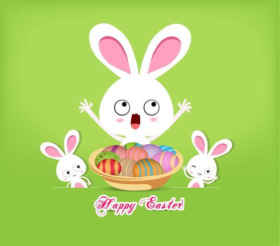 sfondo di coniglio e uova di Pasqua felice vettore