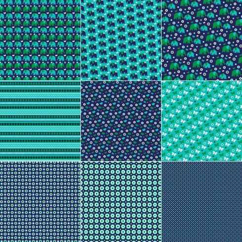 mod blue green elephant bird and butterfly patterns