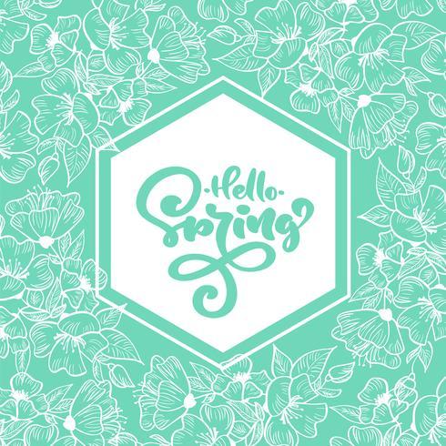 Marco geométrico turquesa con texto escrito a mano Hola primavera