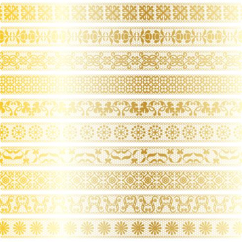 gold lace border patterns vector