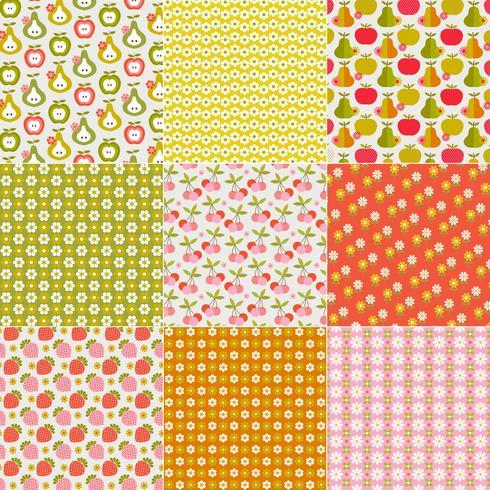 Retro Fruit & Flower Patterns