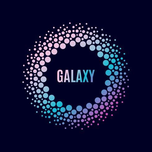 Poster Galaxy. Cornice del cerchio di Halfton vettore
