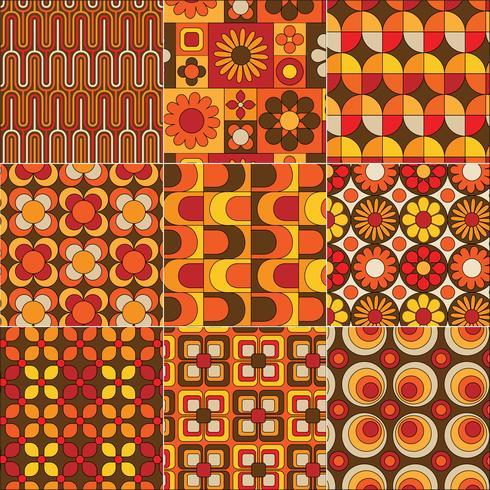 mod seamless yellow orange brown patterns