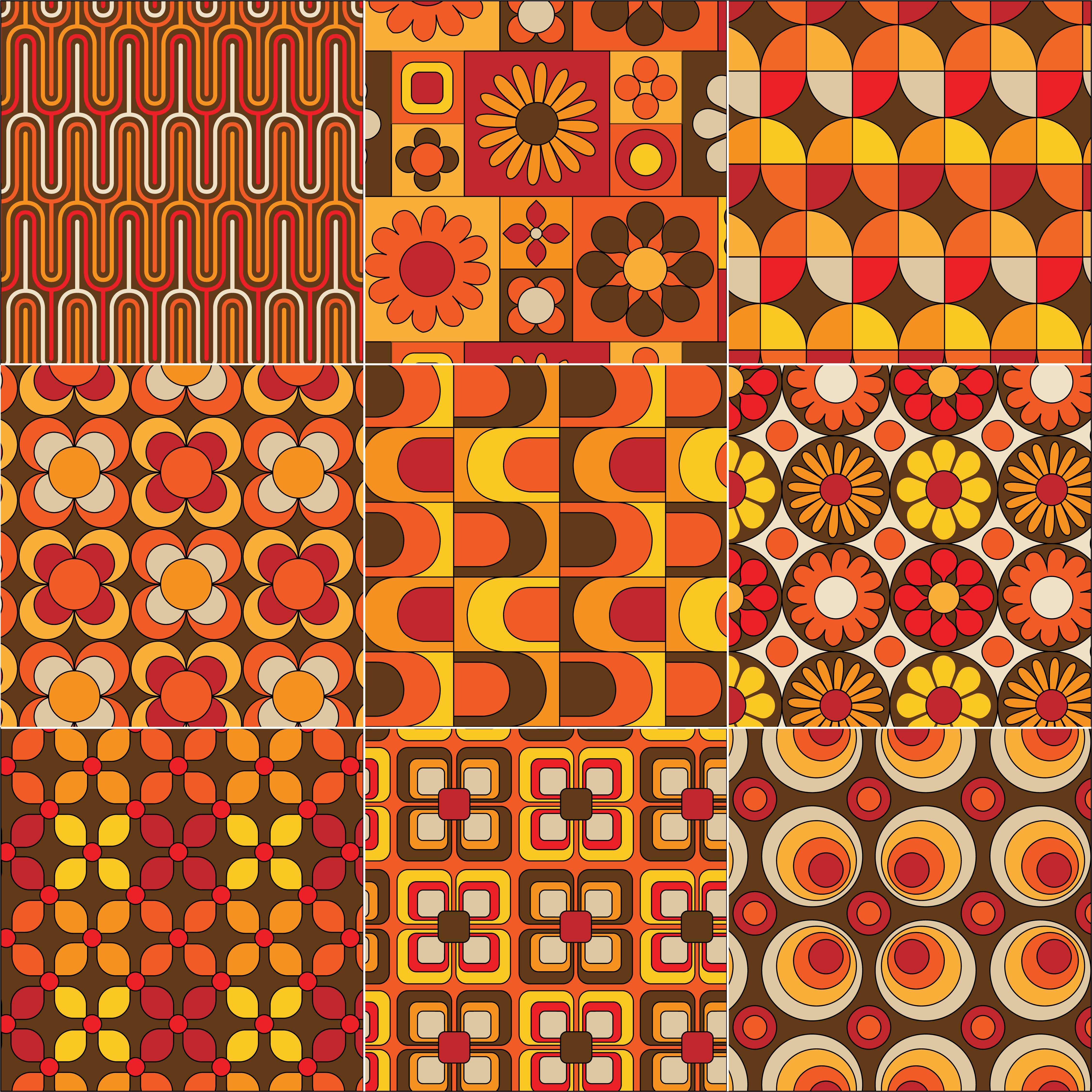 Mod Seamless Yellow Orange Brown Patterns Download Free
