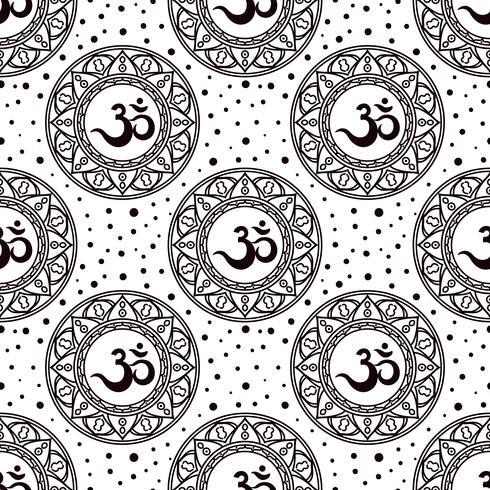 Om símbolo de patrones sin fisuras. vector