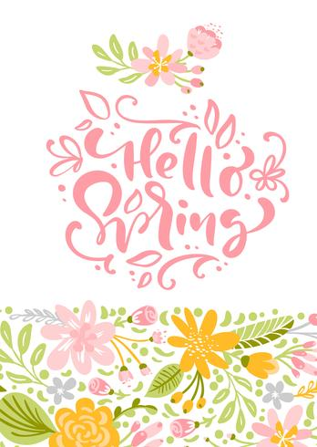 Flower Vector greeting card with text Hello Spring