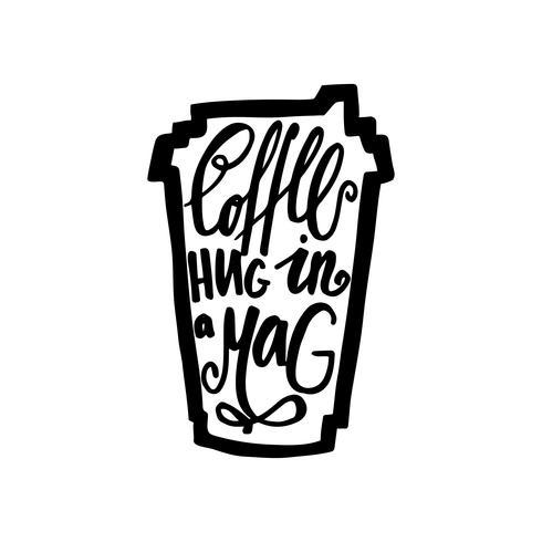 Caneca de viagem de café com a frase café. Abraço em uma revista