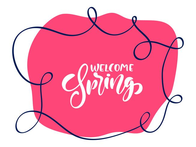 Vintage Vector red background with calligraphic lettering text Welcome Spring