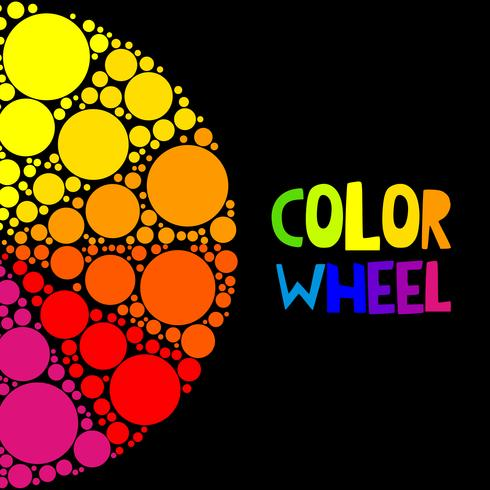 Kleurenwiel of kleurencirkel op zwarte achtergrond
