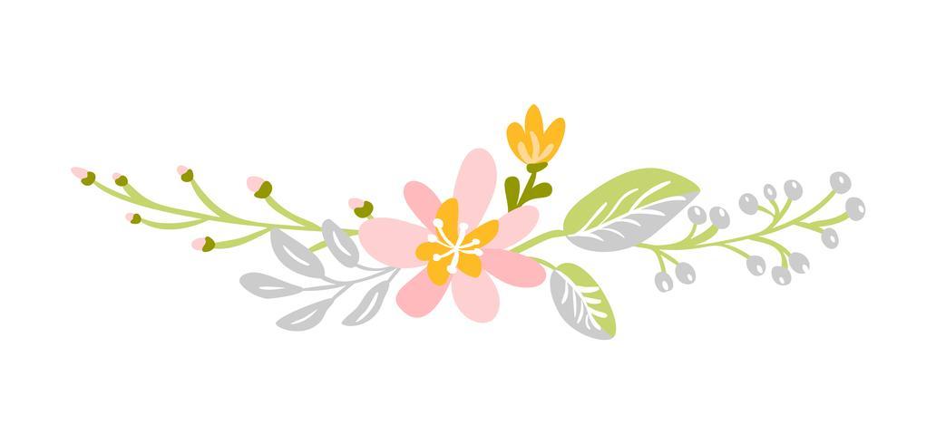 Vlakke abstracte groene bloem kruiden boeket