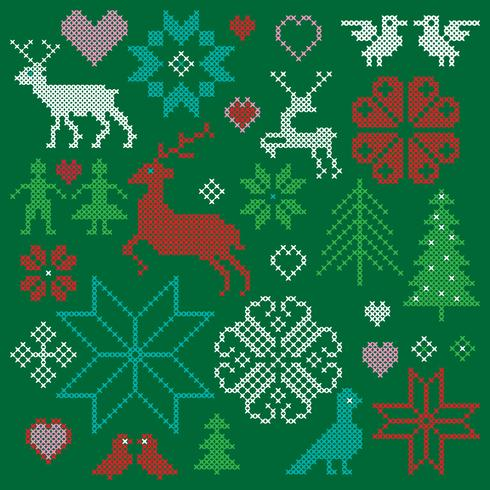 embroidered nordic motifs clipart graphics