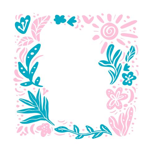 Summer vector floral frame tropical composition with place for text