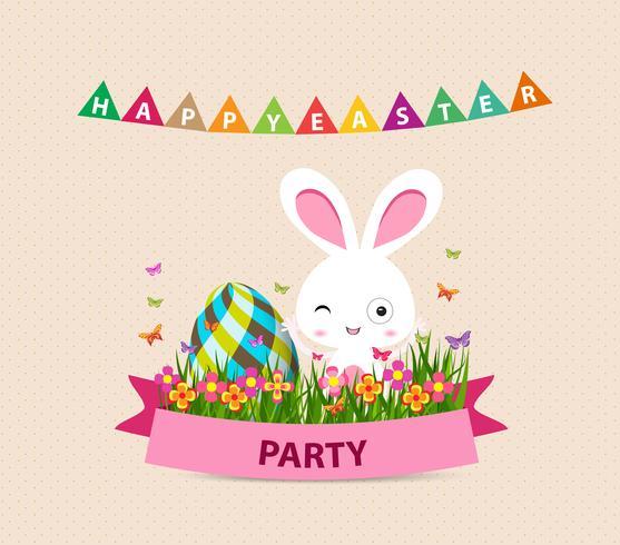 Feliz Páscoa coelhinho ovos e coelho