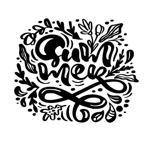Tarjeta de felicitación de tinta negra flor Vector con texto verano