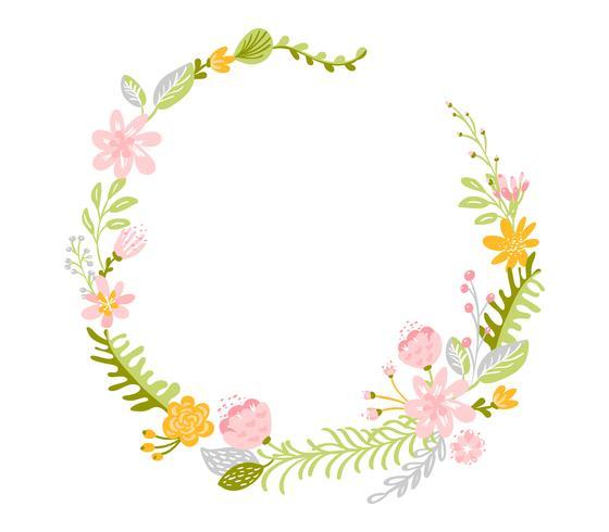 Spring flower herbs wreath
