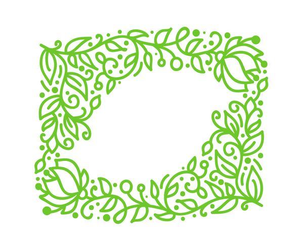 Vector green monoline calligraphy flourish frame for greeting card