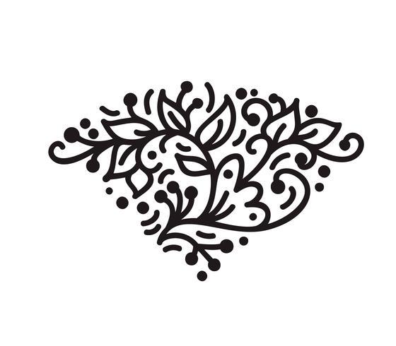 monogramme vintage scandinave s'épanouir monogramme avec feuilles et fleurs
