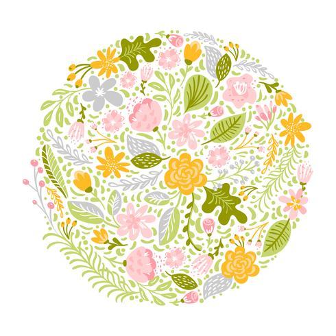 Ramo de hierba de flor verde redondo plano abstracto vector