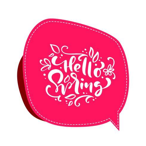 Vintage vector fondo rojo con texto de letras caligráficas Hola primavera