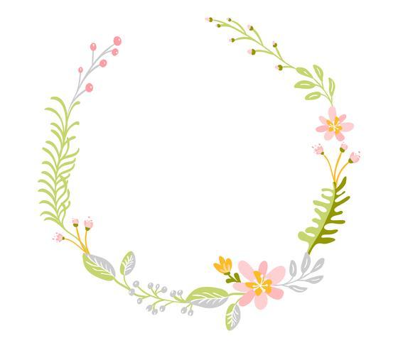Couronne d'herbes de fleurs printemps abstraite plat