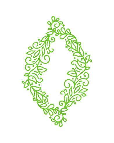 Monoline Kalligraphie des Weinlese-Vektorgrüns blüht Rahmen für Grußkarte