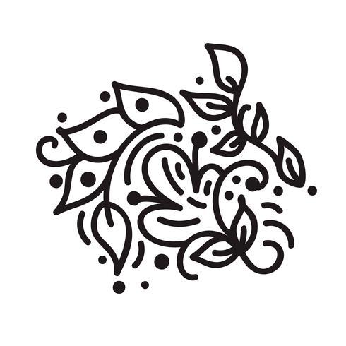 Monograma de florescer monoline escandinavo com folhas e flores