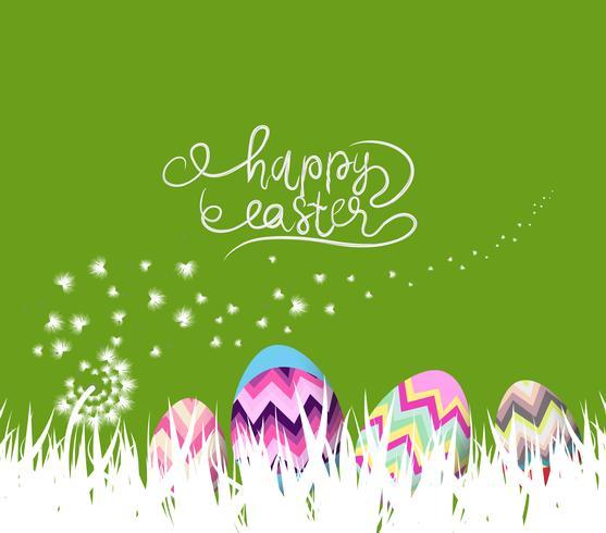 buone uova di Pasqua e sfondo coniglio con denti di leone bianchi
