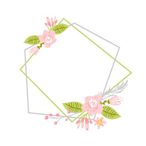 Geometric Spring wreath with flower. Flat herb abstract vector garden frame.