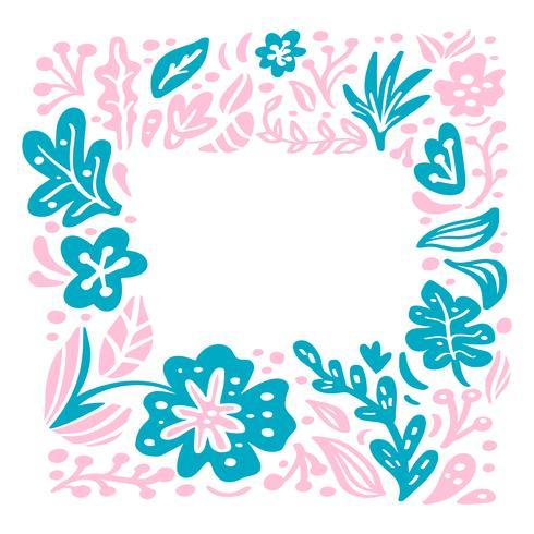 Sommar vektor blommig ram skandinavisk tropisk komposition med plats för text