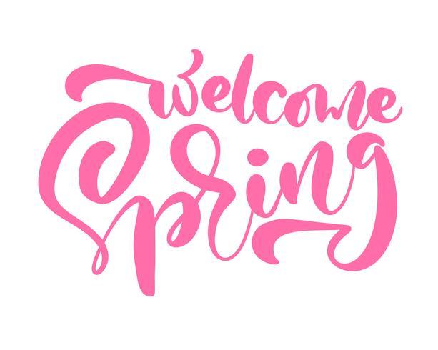 Primavera di benvenuto di frase di iscrizione rosa di calligrafia