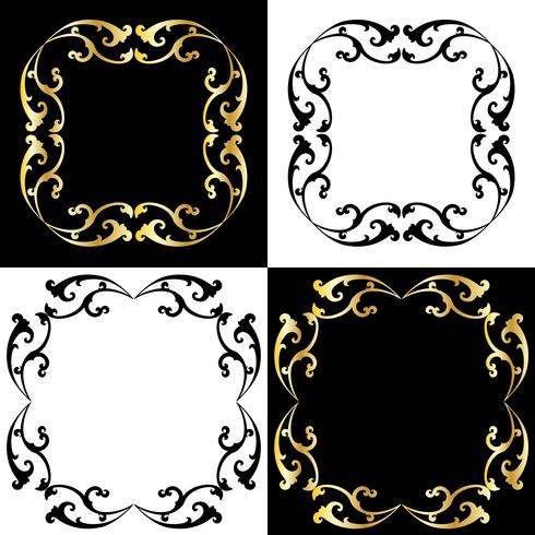 gold and black scroll frames