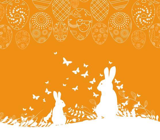 Ostern-Grußkarte mit Kaninchenverzierung ärgert Hintergrund