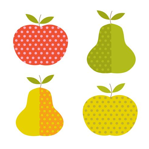 retro apples and pears with polka dot pattens vector