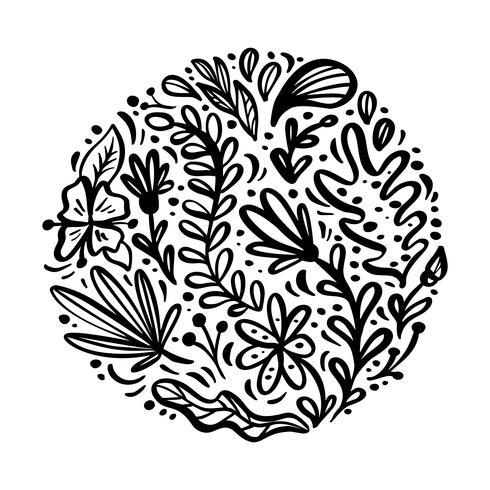 Flat abstract round black flower herb bouquet. Vector garden summer flora