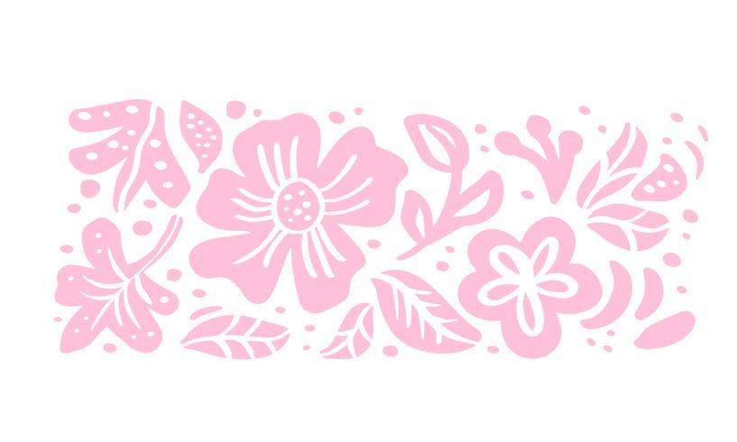 Composição de bouquet tropical floral de vetor de ornamento escandinavo verão para design