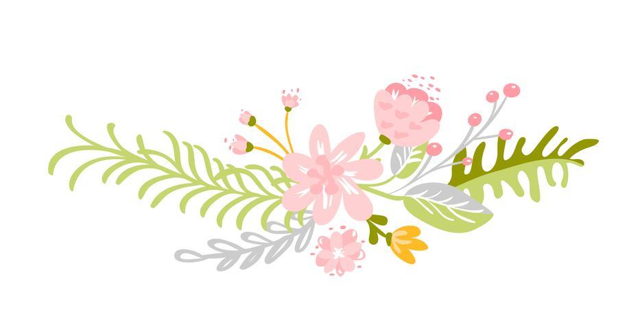 Ramo de hierbas de flor verde abstracto plano
