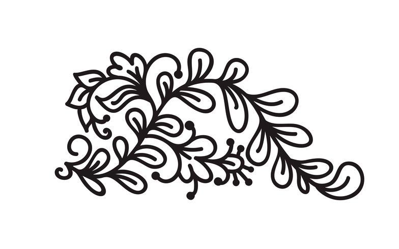 Skandinavischer Monogrammvektor des schwarzen Monoline Flourish mit Blättern und Blumen