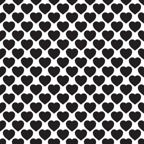 Monokromt sömlöst mönster med hjärtan
