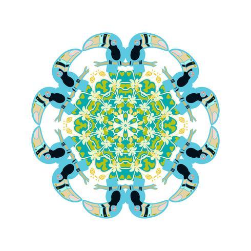 Adorno redondo estilo psicodélico años 60 de plantas y elementos tropicales. vector
