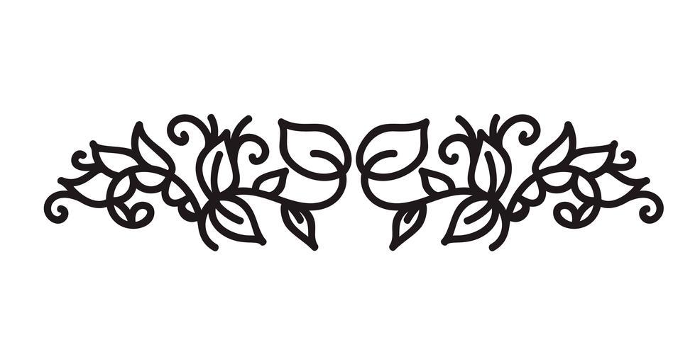 monoline s'épanouir vecteur monogramme scandinave avec des feuilles et des fleurs