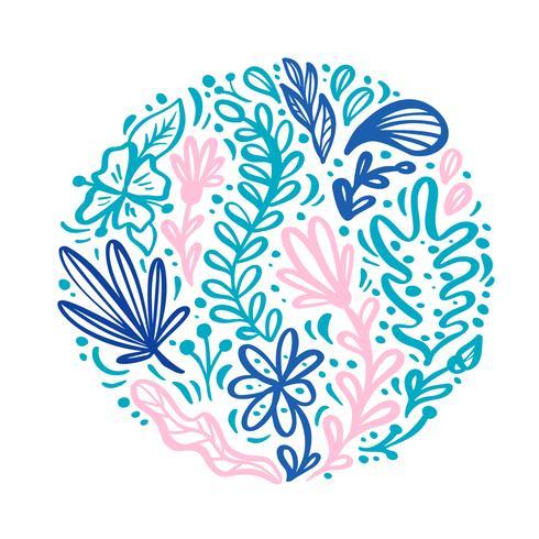 Ornamento piano scandinavo astratto del mazzo dell'erba del fiore di colore rotondo